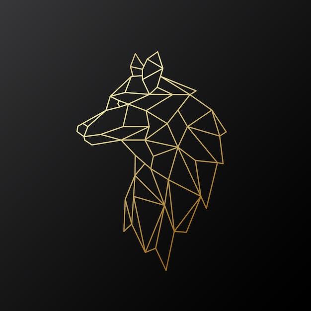 Lobo de ouro geométrico. Vetor Premium