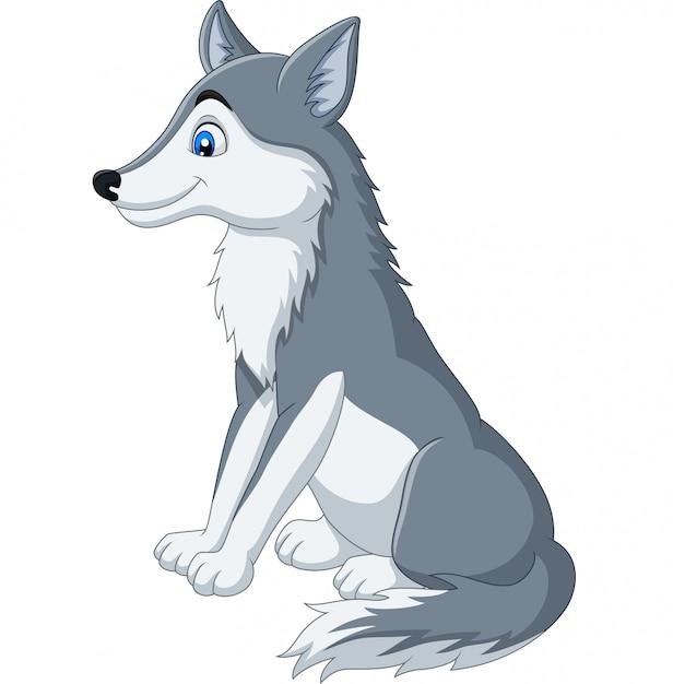 Lobo Dos Desenhos Animados Sentado No Branco Vetor Premium