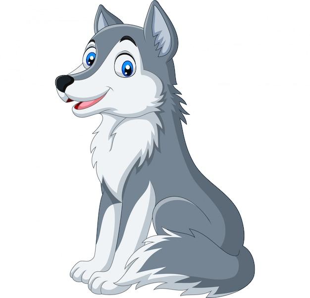 Lobo Dos Desenhos Animados Sentado No Fundo Branco Vetor Premium