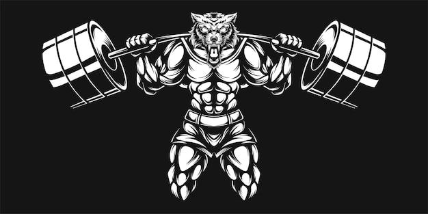 Lobo e haltere, ilustração em preto e branco Vetor Premium