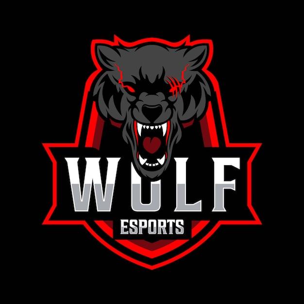 Lobo esport logotipo modelo Vetor Premium