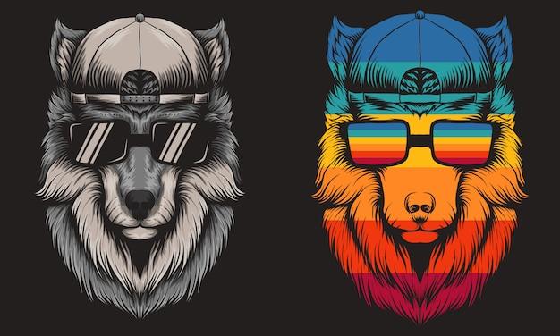Lobo fresco retro Vetor Premium