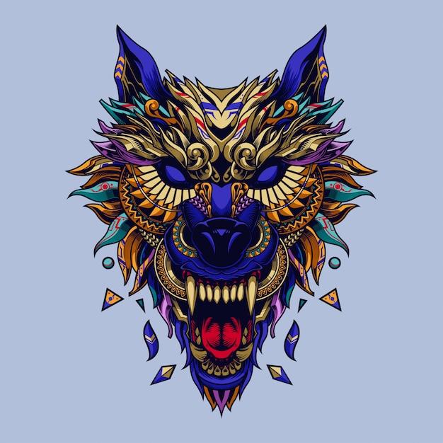 Lobo ilustração étnica e design de tshirt Vetor Premium