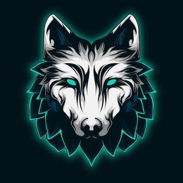 Lobo mint fresco e majestoso Vetor Premium