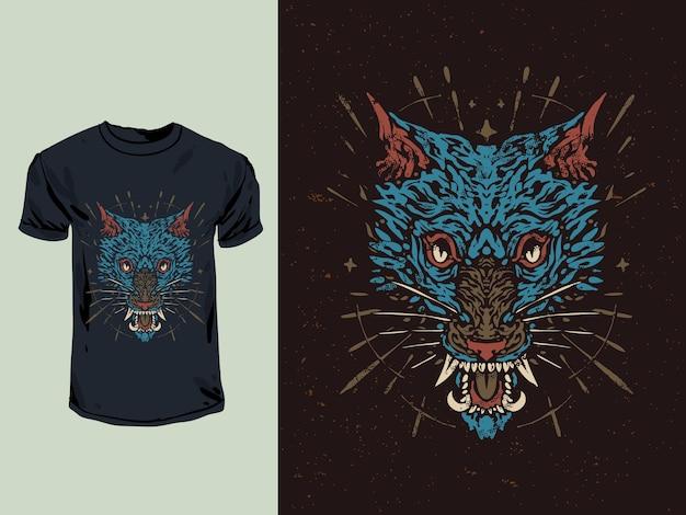 Lobo zangado com uma ilustração desenhada à mão estilo tatuagem Vetor Premium