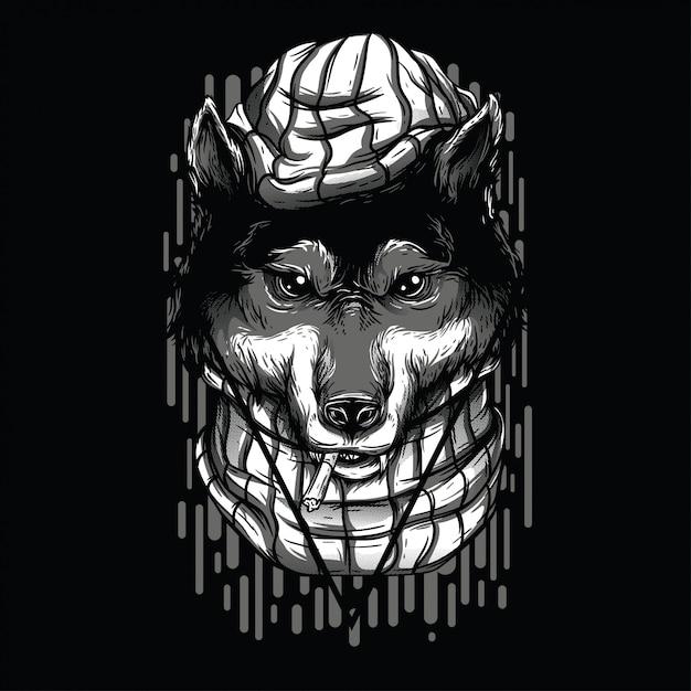 Lobos Bonitos Ilustração Preto E Branco Baixar Vetores Premium