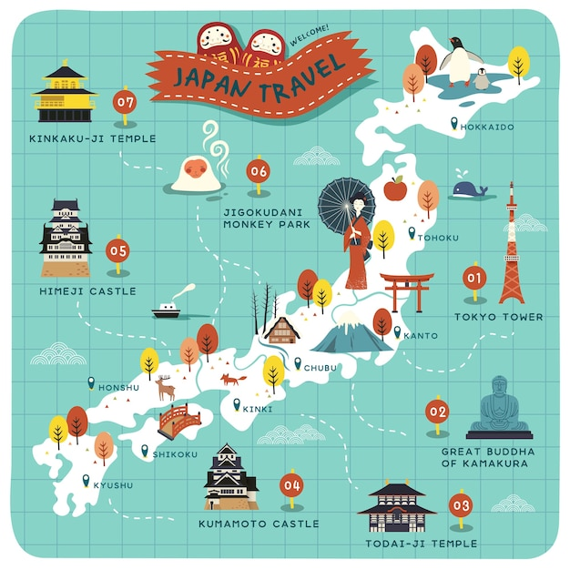 Locais históricos em lindo mapa Vetor Premium
