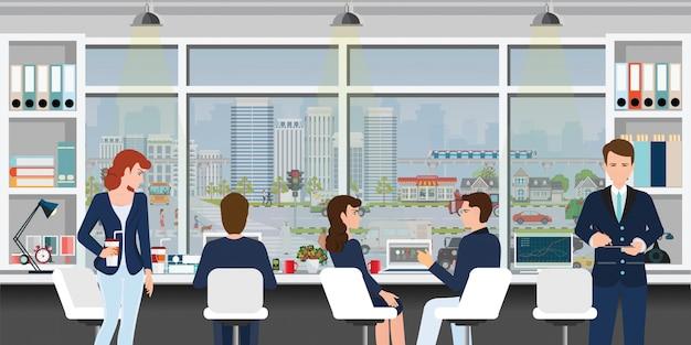 Local de trabalho de escritório com pessoas de negócios. Vetor Premium