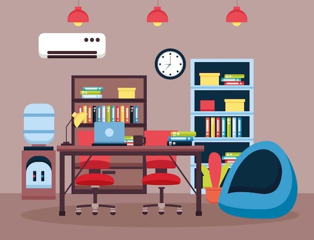 Local de trabalho interior do escritório Vetor grátis