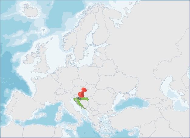 Localização da república da croácia no mapa da europa Vetor Premium
