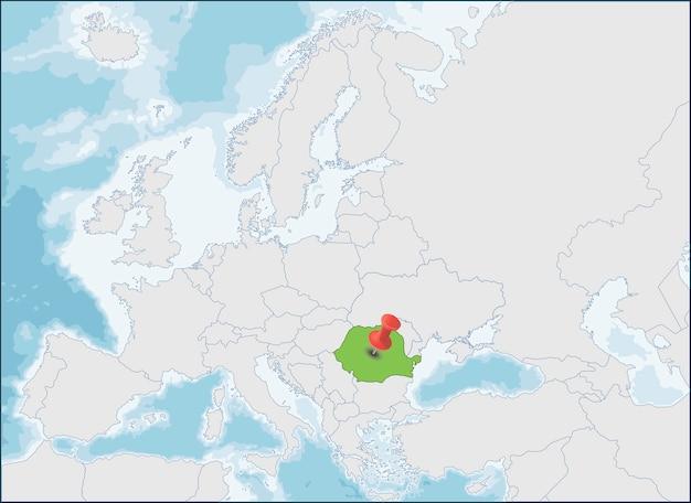 Localização da romênia no mapa da europa Vetor Premium