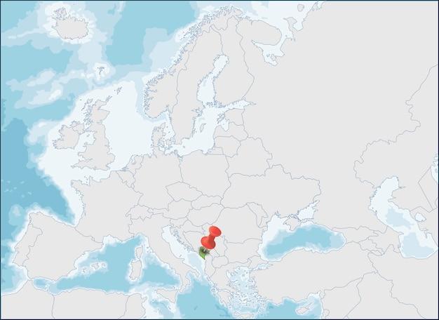 Localização de montenegro no sudeste da europa, na costa dos balcãs Vetor Premium