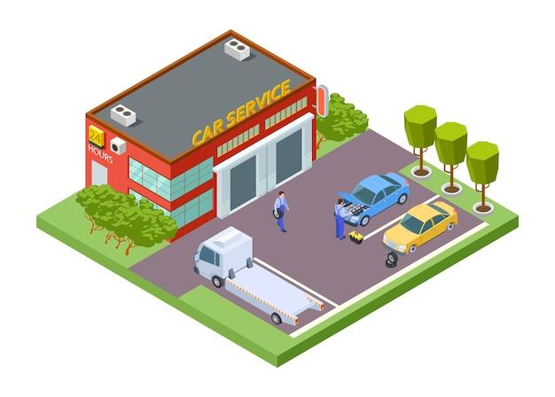 Localização de serviço de carro isométrico Vetor Premium
