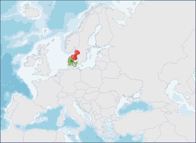 Localização do reino da dinamarca no mapa da europa Vetor Premium