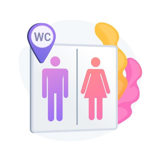 Localização dos banheiros públicos. sinalizador de banheiro, banheiros masculino e feminino, wc e símbolo de geotag. silhuetas de cavalheiro e senhora na tabuleta do banheiro. Vetor grátis