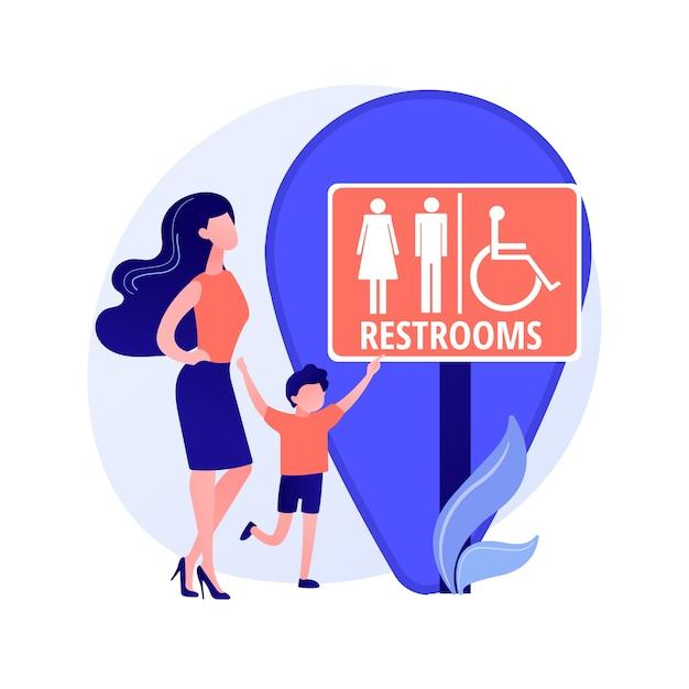 Localização dos banheiros públicos. sinalizador de banheiro, banheiros masculino e feminino, wc e símbolo de geotag. silhuetas de cavalheiro e senhora na tabuleta do lavatório. ilustração vetorial de metáfora de conceito isolado Vetor grátis