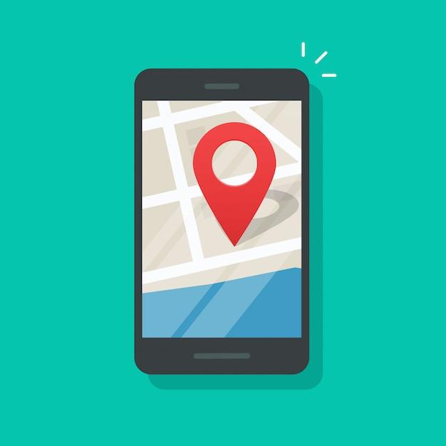 Localização geo de telefone móvel no smartphone gps navigator cidade mapa vector plana dos desenhos animados Vetor Premium