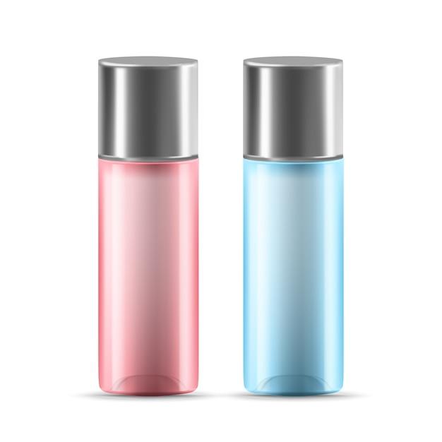 Loção ou recipiente de vidro de gel com tampa Vetor Premium