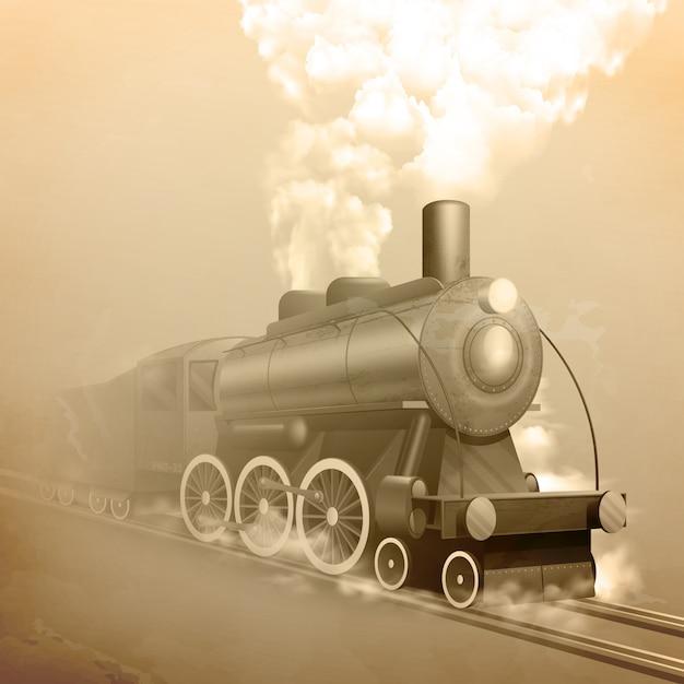 Locomotiva de estilo antigo Vetor Premium