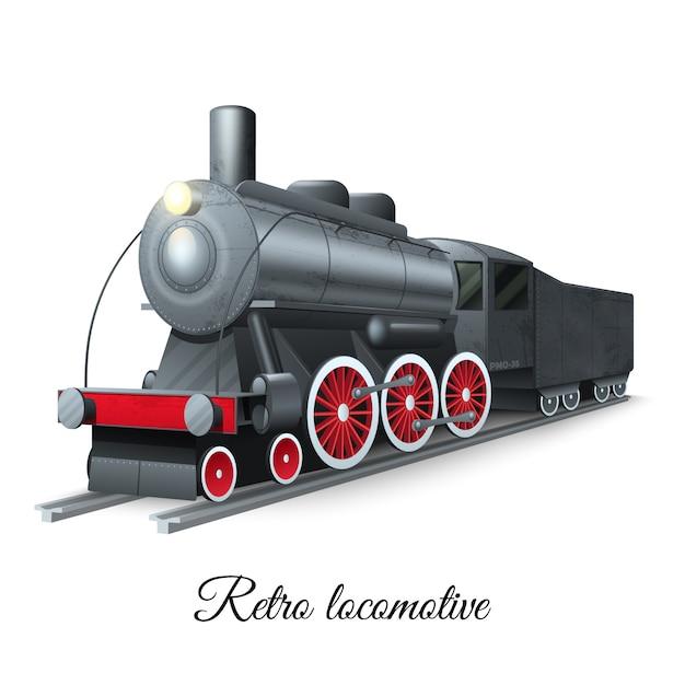 Locomotiva de ferro de trem a vapor de estilo retro na ferrovia Vetor grátis