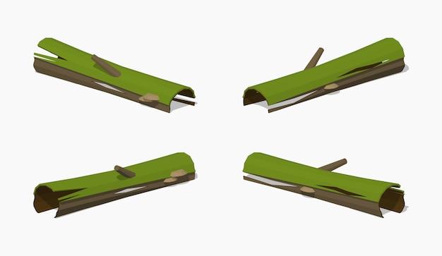 Log podre baixo poli Vetor Premium