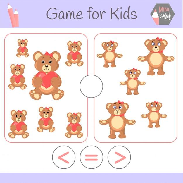 Lógica de jogo educativo para crianças pré-escolares Vetor Premium