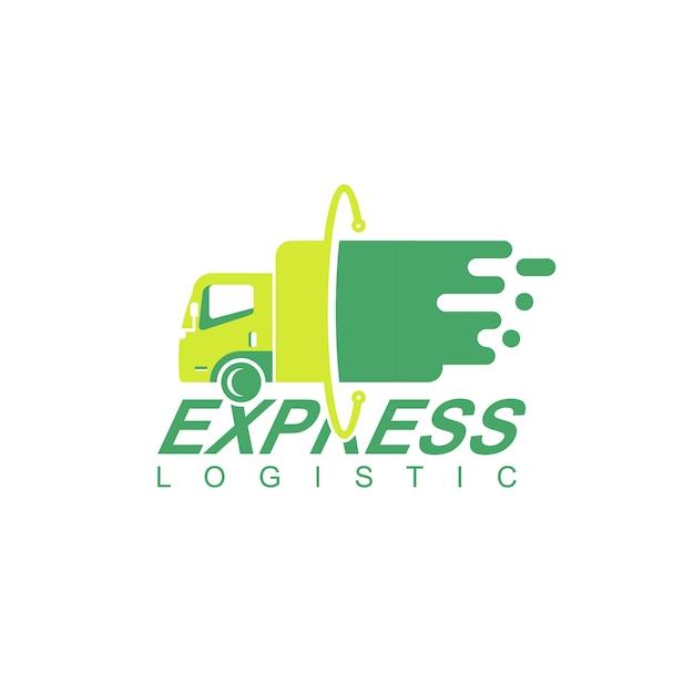 Logistic truck logo design vector Vetor Premium