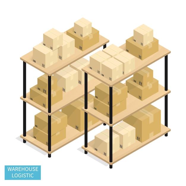 Logística de armazém isométrica transporte vector de caixa de papelão Vetor Premium