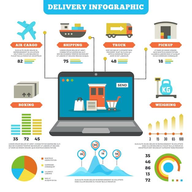 Logística de carga e infográfico de entrega de produção Vetor Premium