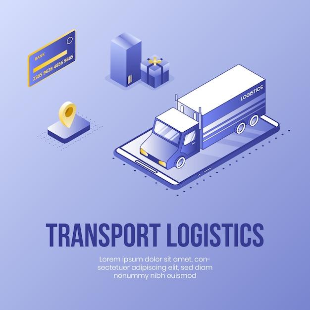 Logística de transporte conceito de design isométrico digital Vetor Premium