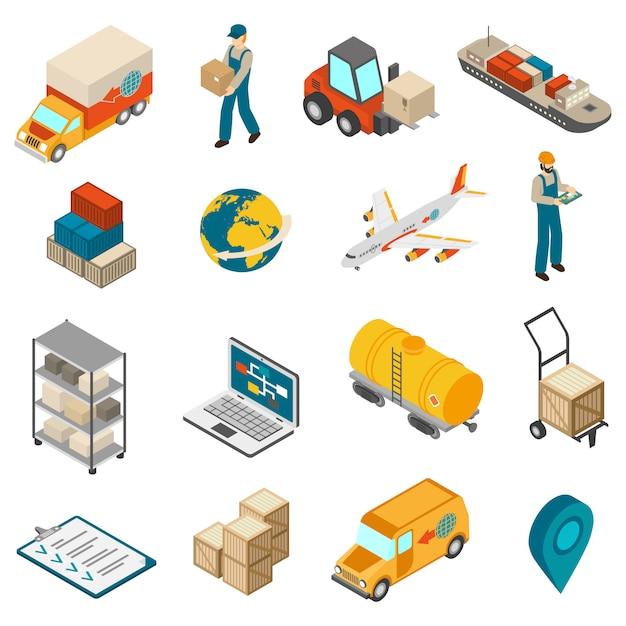 Logistics transportation symbols coleção de ícones isométrica Vetor grátis