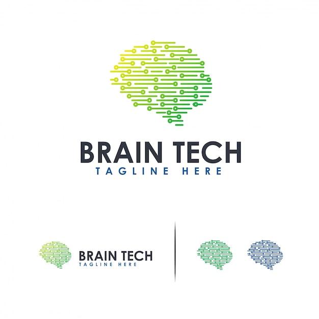 Logo brain tech logo mind technology, modelo de logotipo robotic brain Vetor Premium