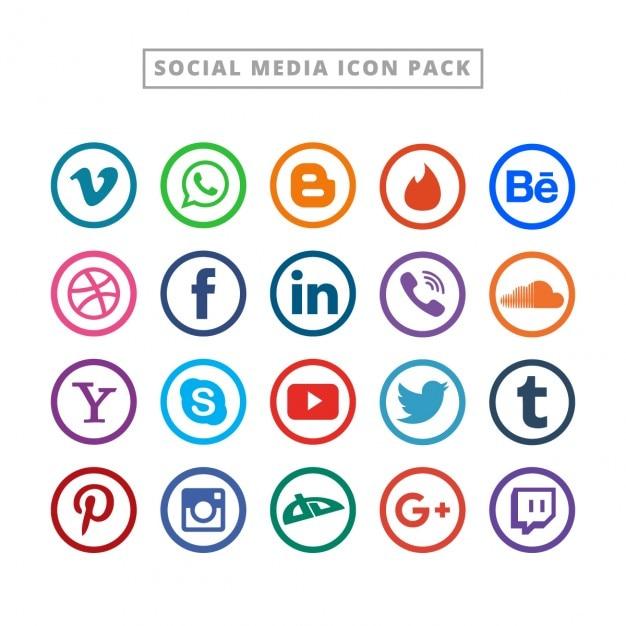 Logo collection mídia social plana Vetor grátis