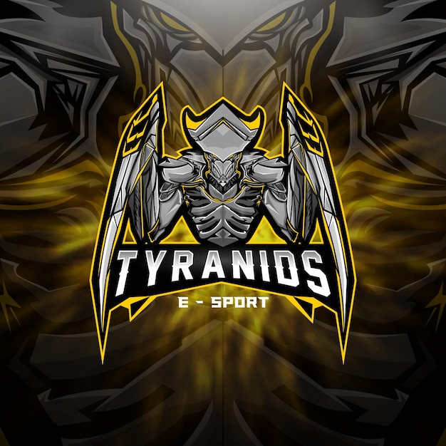 Logo da esports equipe alien tyranids Vetor Premium