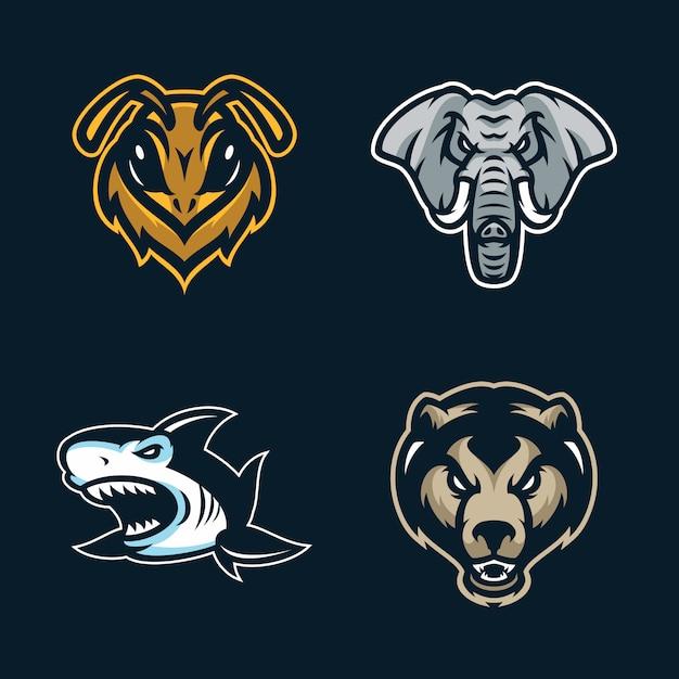Logo de jogo de mascote de animais para equipe de esport Vetor Premium