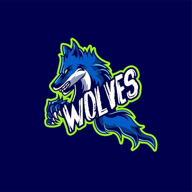 Logo de jogo de mascote e esport de lobos Vetor Premium