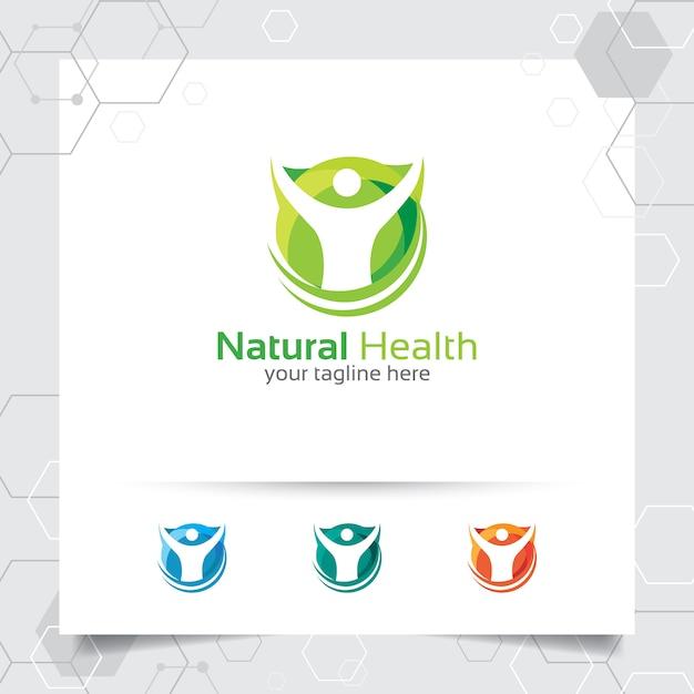 Logo de saúde natural Vetor Premium