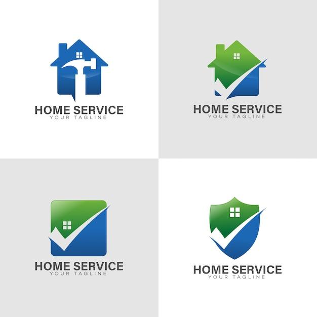 Logo de serviço em casa Vetor Premium