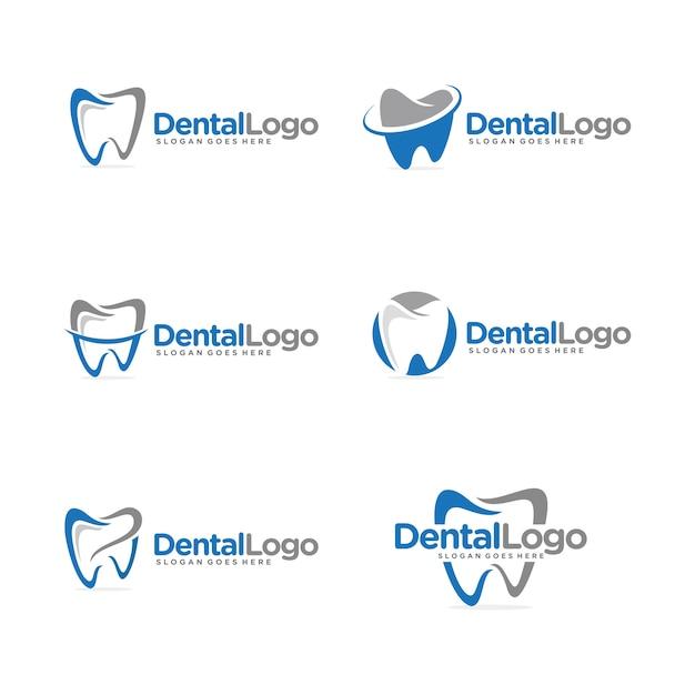 Logo dental definir modelo Vetor Premium