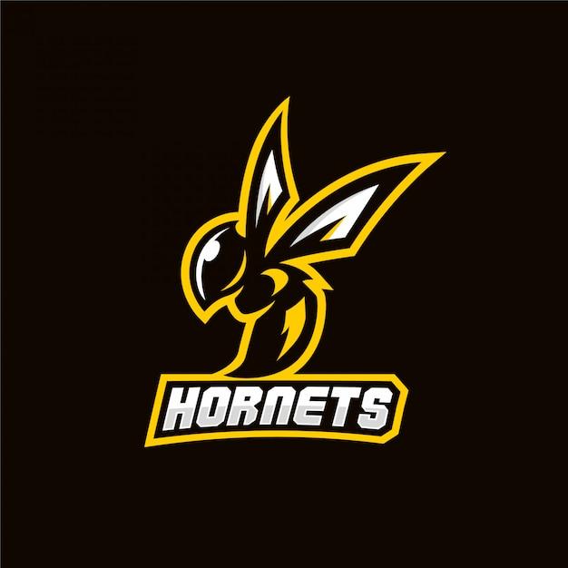 Logo do jogo do esporte da mascote da abelha do zangão Vetor Premium