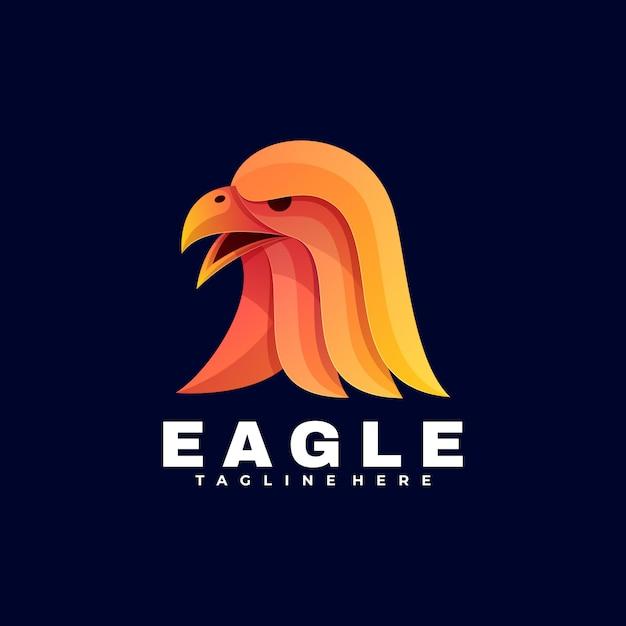 Logo eagle gradient estilo colorido. Vetor Premium