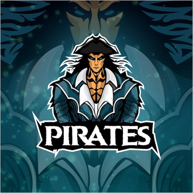 Logo esports piratas equipe Vetor Premium