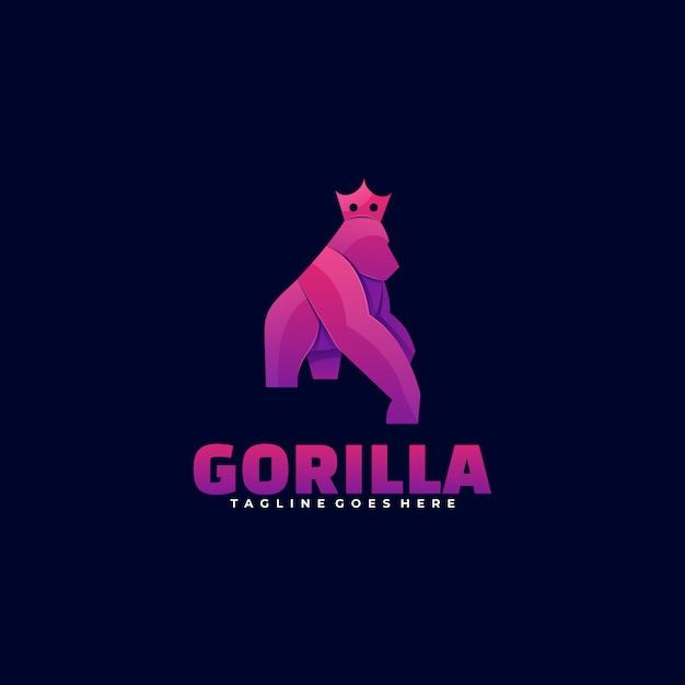 Logo gorilla gradient colorful style. Vetor Premium