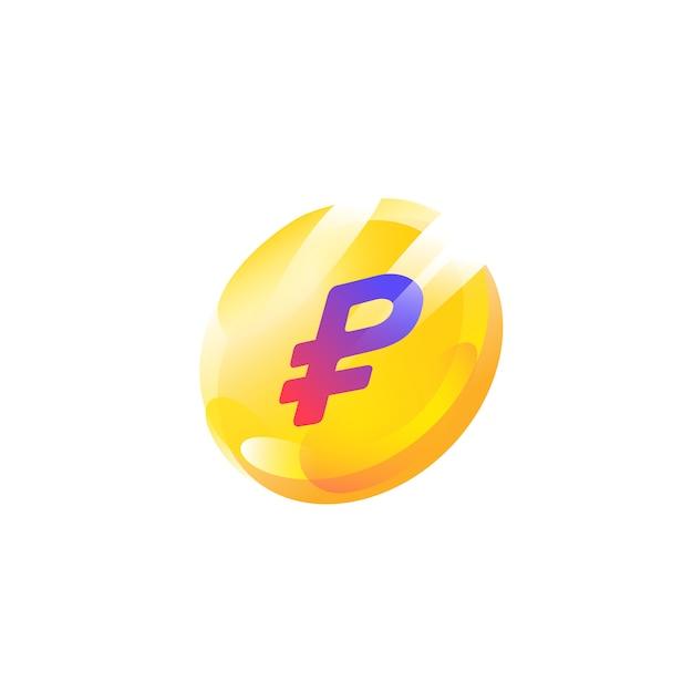 Logo, ícone de moeda com um sinal de rublo Vetor Premium