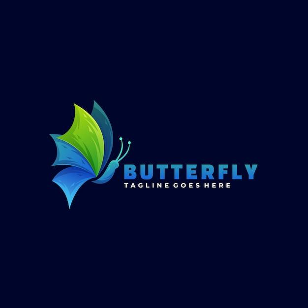 Logo illustration butterfly gradient colorful style. Vetor Premium