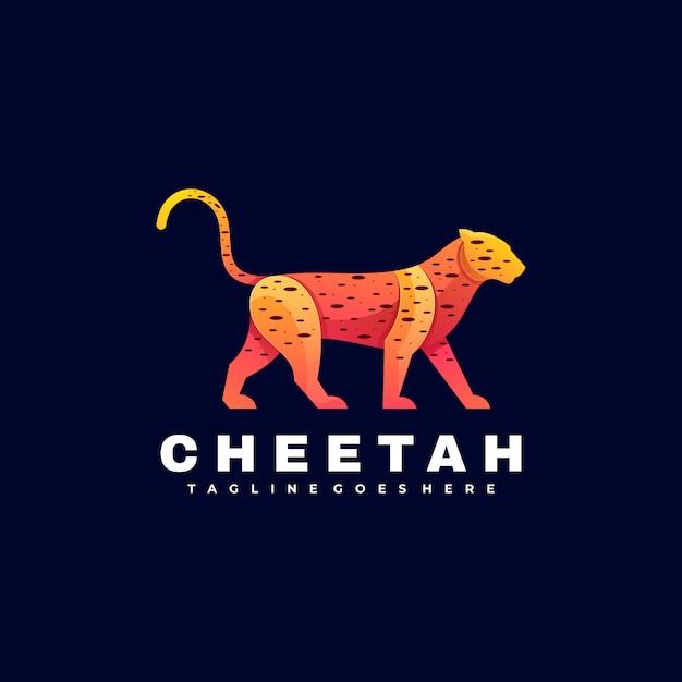 Logo illustration cheetah gradient colorful style. Vetor Premium