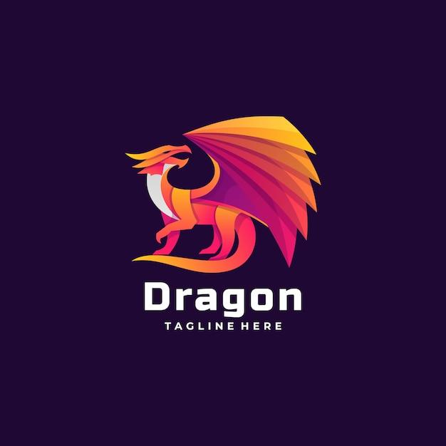 Logo illustration dragon gradient colorful style. Vetor Premium