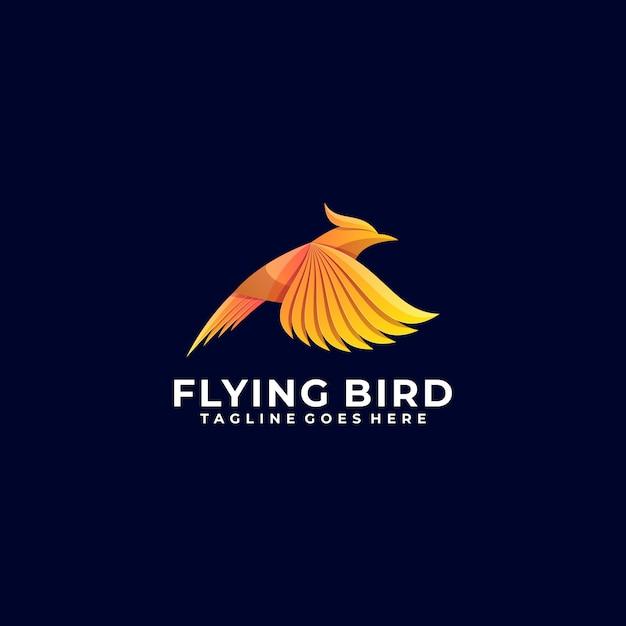 Logo illustration flying bird gradient colorful style. Vetor Premium