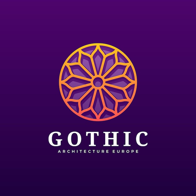 Logo illustration gothic gradient colorful style. Vetor Premium
