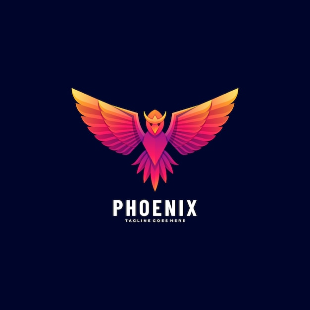 Logo illustration phoenix gradient colorful style. Vetor Premium